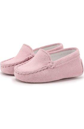 Детского замшевые мокасины TOD'S розового цвета, арт. UXB00G00I70RE0L020 | Фото 1