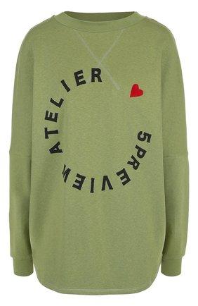 Хлопковый пуловер свободного кроя с логотипом бренда | Фото №1