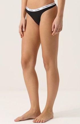 Женские хлопковые стринги с логотипом бренда CALVIN KLEIN черного цвета, арт. D1617E | Фото 2