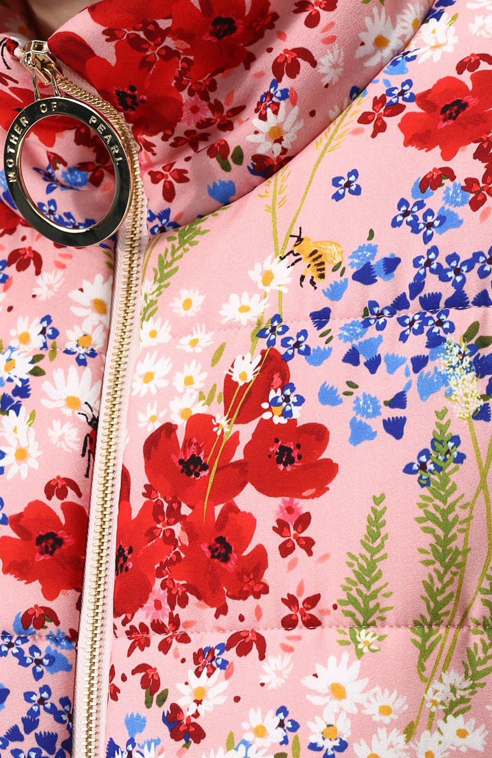Женский бомбер на молнии с контрастными манжетами и воротником-стойкой MOTHER OF PEARL розового цвета, арт. 1096 A 0TT0   Фото 5