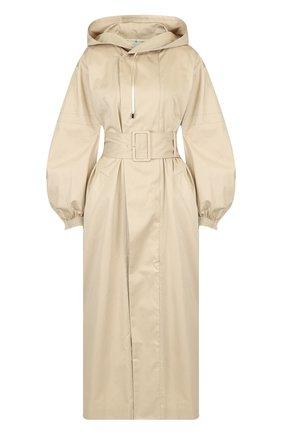 Однотонное хлопковое пальто с поясом и капюшоном | Фото №1