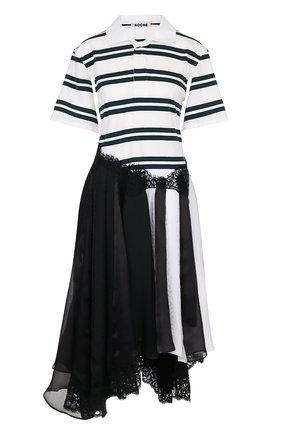 Платье-миди асимметричного кроя с кружевной отделкой | Фото №1