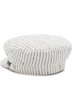 Кепка из смеси хлопка и шелка с декоративными цепочками Maison Michel белого цвета | Фото №1
