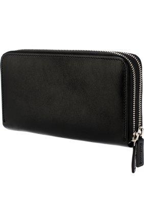 Кожаное портмоне с двумя отделениями на молнии Corneliani черного цвета | Фото №1
