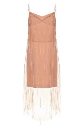 Однотонное платье-комбинация с декорированной отделкой | Фото №1