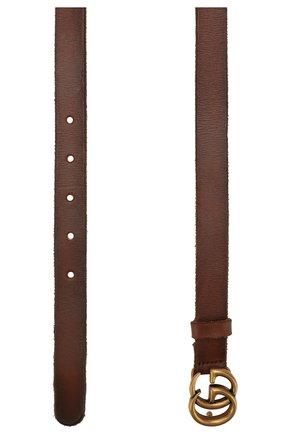 Женский кожаный ремень с фигурной пряжкой GUCCI коричневого цвета, арт. 409417/CVE0T   Фото 2 (Статус проверки: Проверена категория)