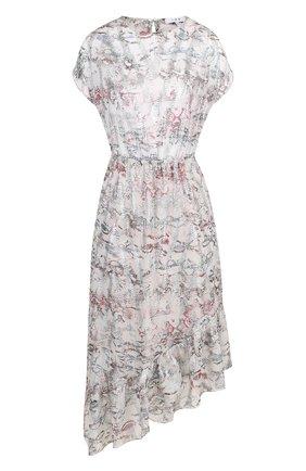 Шелковое платье асимметричного кроя с оборками и принтом | Фото №1