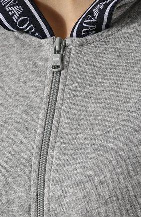 Женский хлопковый кардиган на молнии с капюшоном EMPORIO ARMANI серого цвета, арт. 164076/8P287   Фото 5