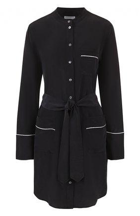Шелковое платье-рубашка с поясом Equipment черное | Фото №1