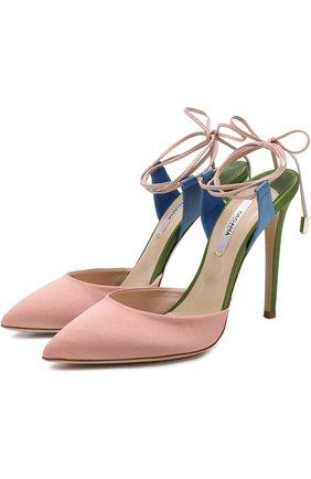 Сатиновые туфли Attachante Rainbow с кожаными ремешками OLGANA светло-розовые | Фото №1