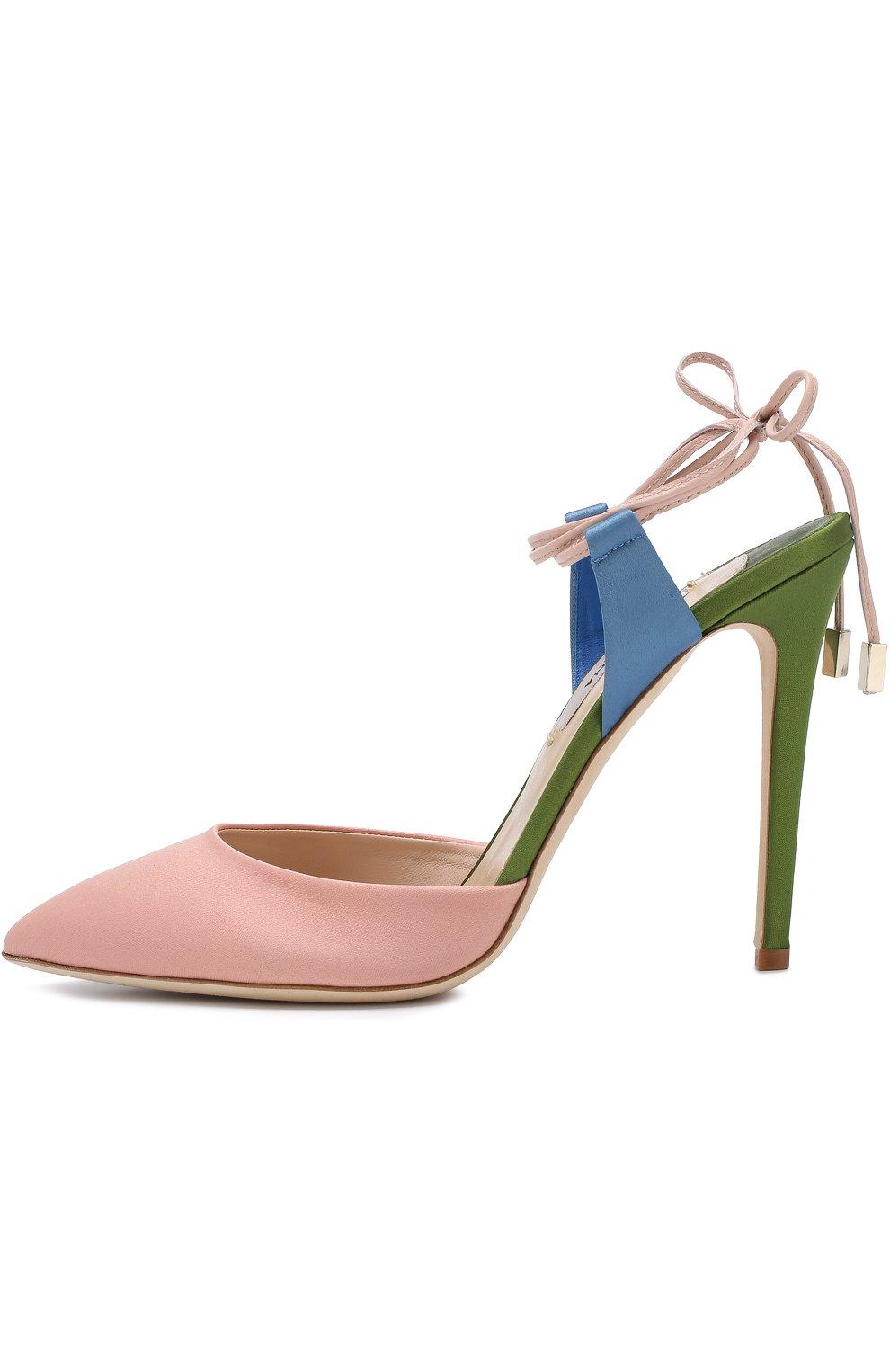 Сатиновые туфли Attachante Rainbow с кожаными ремешками OLGANA светло-розовые | Фото №3