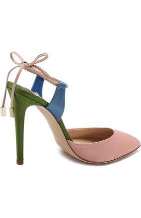 Сатиновые туфли Attachante Rainbow с кожаными ремешками OLGANA светло-розовые | Фото №4