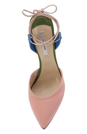 Сатиновые туфли Attachante Rainbow с кожаными ремешками OLGANA светло-розовые | Фото №5