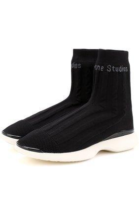Высокие текстильные кроссовки с логотипом бренда | Фото №1