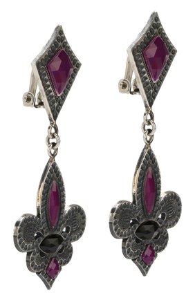 Серьги-клипсы с подвесками и отделкой камнями GFase фиолетового цвета | Фото №1