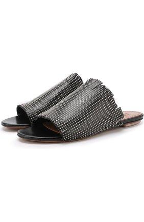 Кожаные сабо с заклепками Alaia черные | Фото №1