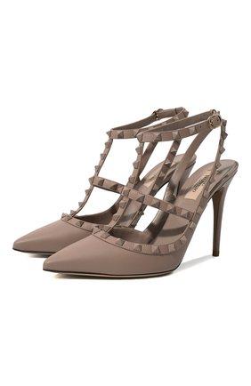 Женская кожаные туфли valentino garavani rockstud VALENTINO пепельно-розового цвета, арт. QW1S0393/VB8 | Фото 1