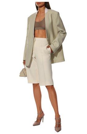 Женская кожаные туфли valentino garavani rockstud VALENTINO пепельно-розового цвета, арт. QW1S0393/VB8 | Фото 2
