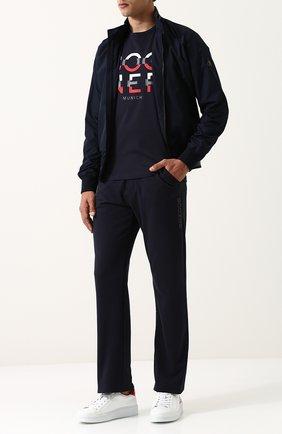 Хлопковые брюки прямого кроя с поясом на резинке Bogner темно-синие | Фото №1