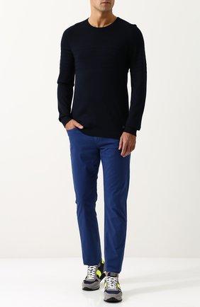 Джемпер тонкой вязки из смеси шелка и хлопка Bogner темно-синий | Фото №1