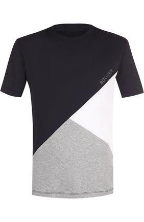 Хлопковая футболка с круглым вырезом Bogner темно-синяя | Фото №1