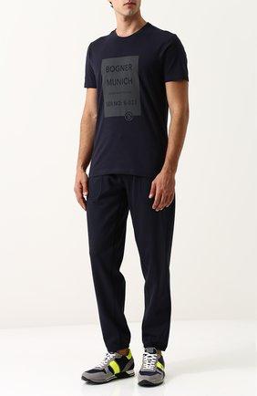 Хлопковая футболка с принтом Bogner темно-синяя | Фото №1