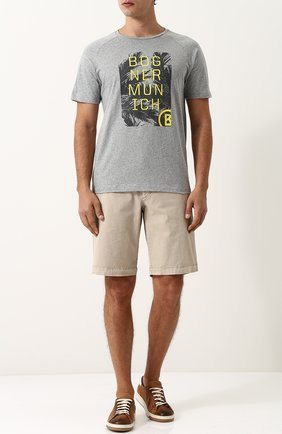 Хлопковые шорты с карманами Bogner бежевые | Фото №1
