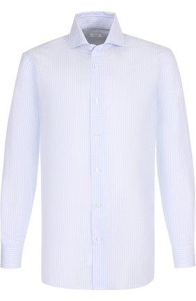 Сорочка из смеси хлопка и льна с воротником акула Barba голубая | Фото №1