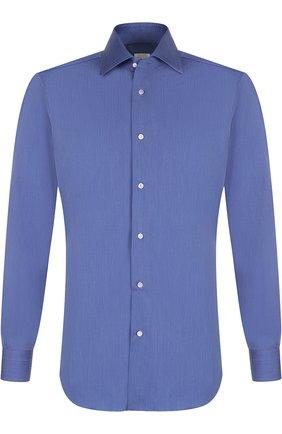 Хлопковая сорочка с воротником кент Barba синяя | Фото №1