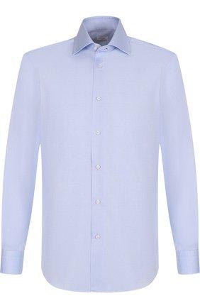 Хлопковая сорочка с воротником кент Barba голубая | Фото №1