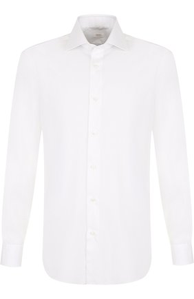 Хлопковая сорочка с воротником кент Barba белая | Фото №1