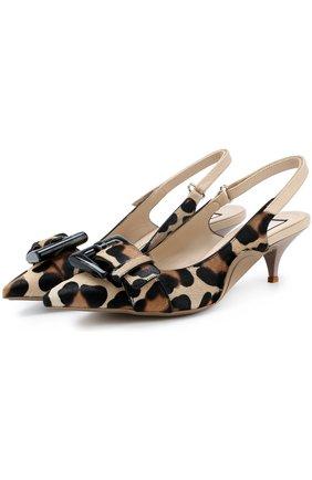 Туфли с отделкой из меха на каблуке kitten heel   Фото №1