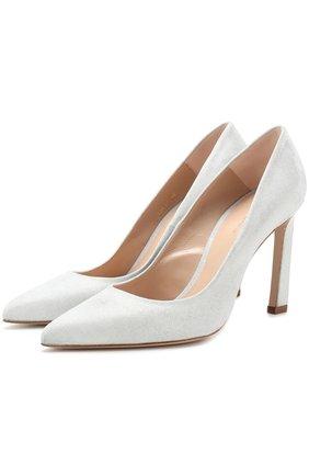 Текстильные туфли на геометричном каблуке Stuart Weitzman белые | Фото №1