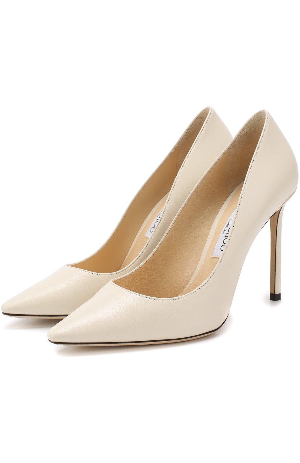 Женские кожаные туфли romy 100 на шпильке JIMMY CHOO белого цвета, арт. R0MY 100/KID   Фото 1