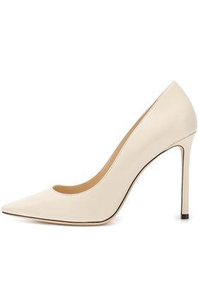 Женские кожаные туфли romy 100 на шпильке JIMMY CHOO белого цвета, арт. R0MY 100/KID   Фото 3