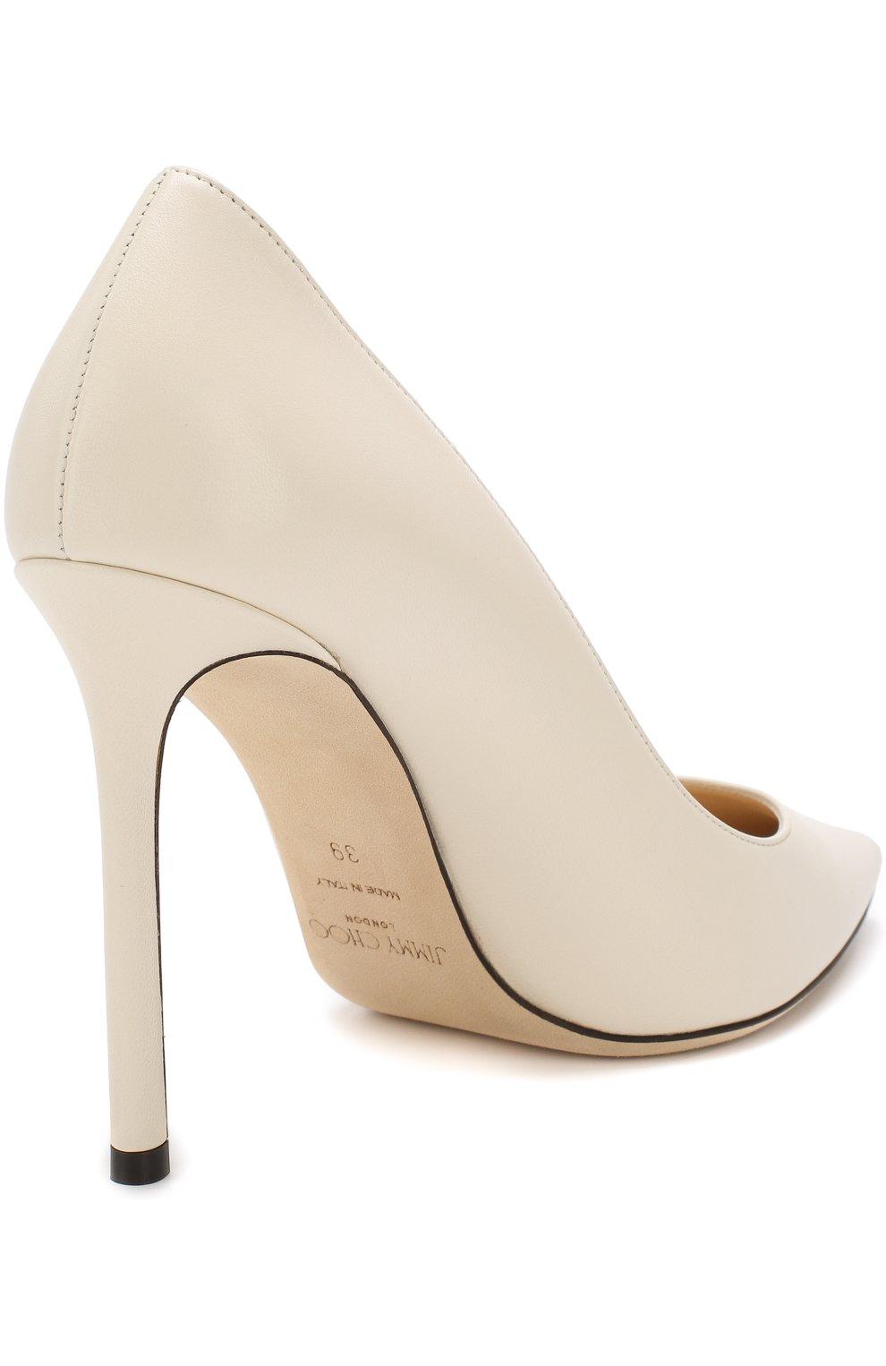 Женские кожаные туфли romy 100 на шпильке JIMMY CHOO белого цвета, арт. R0MY 100/KID   Фото 4