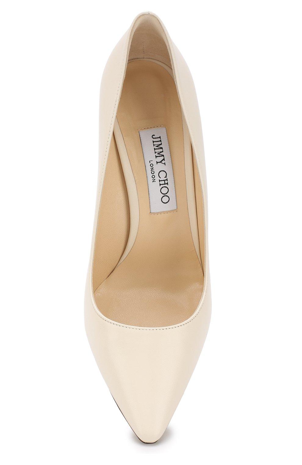 Женские кожаные туфли romy 100 на шпильке JIMMY CHOO белого цвета, арт. R0MY 100/KID   Фото 5