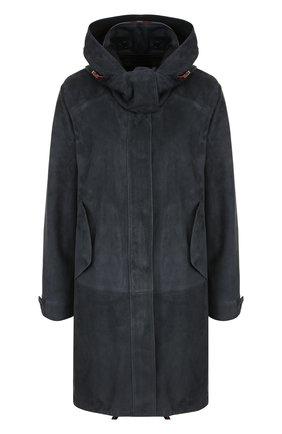 Однотонная замшевая куртка с воротником-стойкой и капюшоном | Фото №1