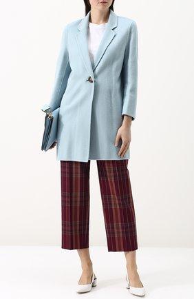 Пальто из смеси шерсти и кашемира с укороченным рукавом Acne Studios голубого цвета | Фото №1