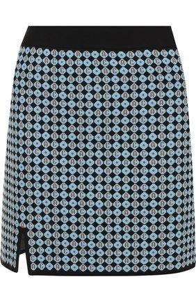 Мини-юбка с принтом и разрезом Alexachung голубая   Фото №1