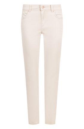 Однотонные укороченные джинсы прямого кроя Escada Sport светло-серые | Фото №1
