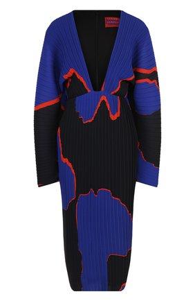Плиссированное платье-миди с V-образным вырезом и принтом Solace разноцветное | Фото №1