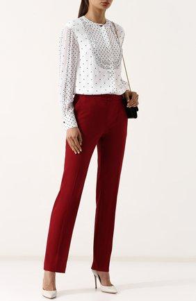 Женская шелковая блуза с оборками и принтом St. John, цвет черно-белый, арт. K31RW13 в ЦУМ | Фото №1