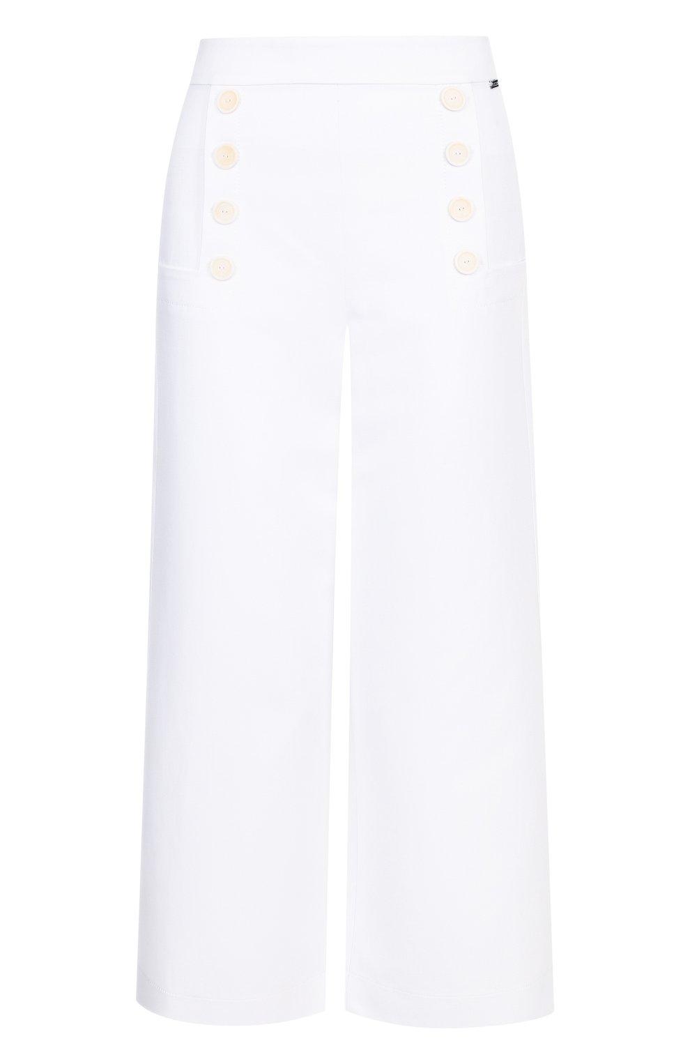 Однотонные укороченные брюки из хлопка   Фото №1