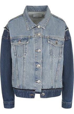 Джинсовая куртка с потертостями Current/Elliott голубая   Фото №1