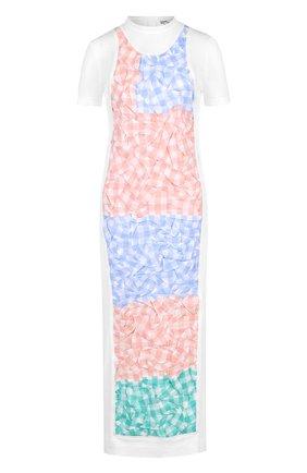 Приталенное платье-миди из смеси хлопка и льна с декорированной отделкой | Фото №1
