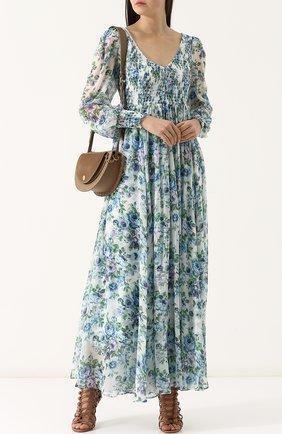 Приталенное платье-макси с принтом Zimmermann голубое | Фото №1