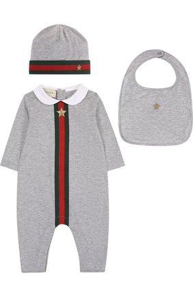 Детского комплект из хлопкового боди и шапочки с нагрудником GUCCI серого цвета, арт. 408987/X5758 | Фото 1