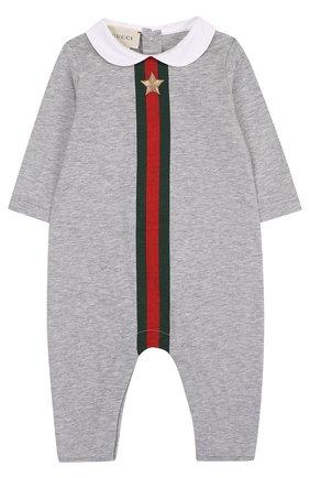 Детского комплект из хлопкового боди и шапочки с нагрудником GUCCI серого цвета, арт. 408987/X5758 | Фото 2