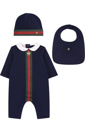 Комплект из хлопкового боди и шапочки с нагрудником   Фото №1